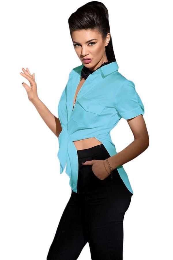 Light Blue Button Up Side Slit Short Sleeve Shirt