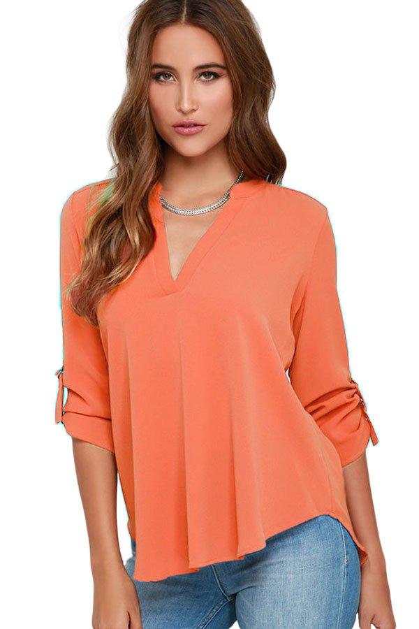 Orange V Neck Loose Fitting Chiffon Blouse