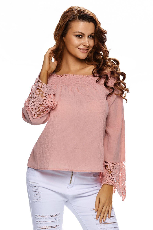 Light Orange Crochet Lace Long Sleeve Off Shoulder Top