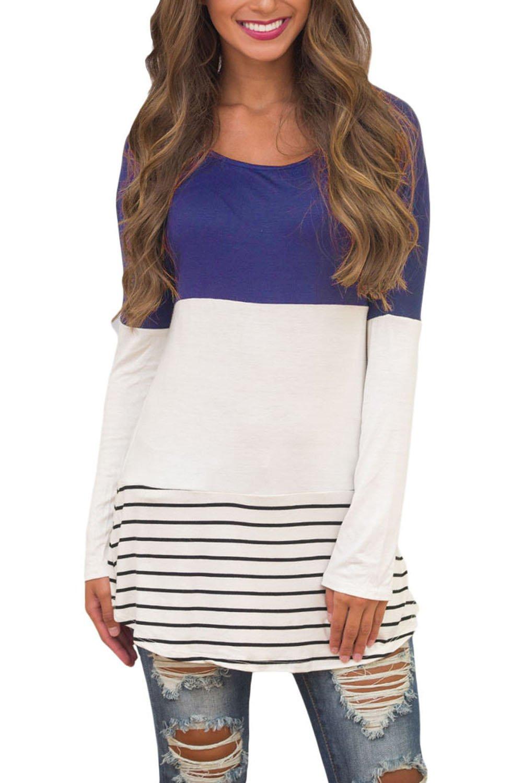 Blue Color Block Lace Patchwork Long Sleeve Blouse Top