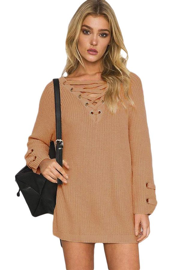 Khaki Crisscross Knitted Long Sweater Online