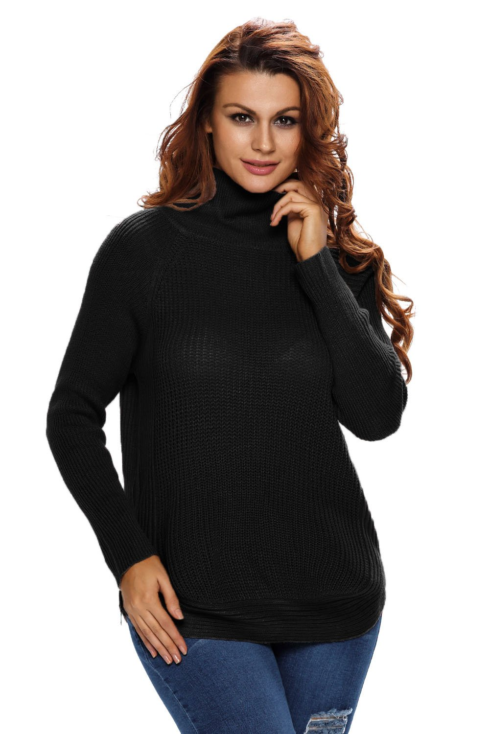 Black High Neck Pullover Side Zipped Sweater Top