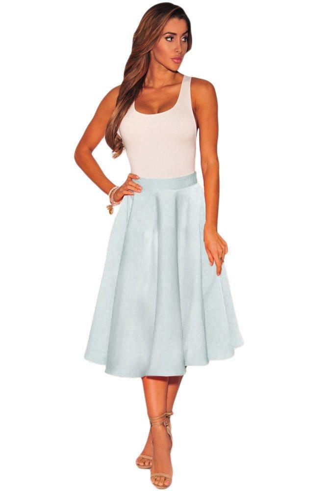 Grey Flared A-Line Midi Skirt