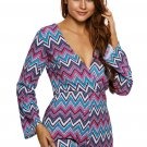 Bright Zigzag Print Deep V Lace-up Long Sleeve Playsuit