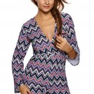 Multicolor Zigzag Print Deep V Lace-up Long Sleeve Playsuit