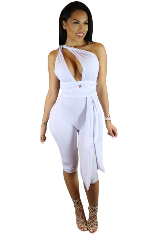 White Variety Strap Wrap Cropped Jumpsuit