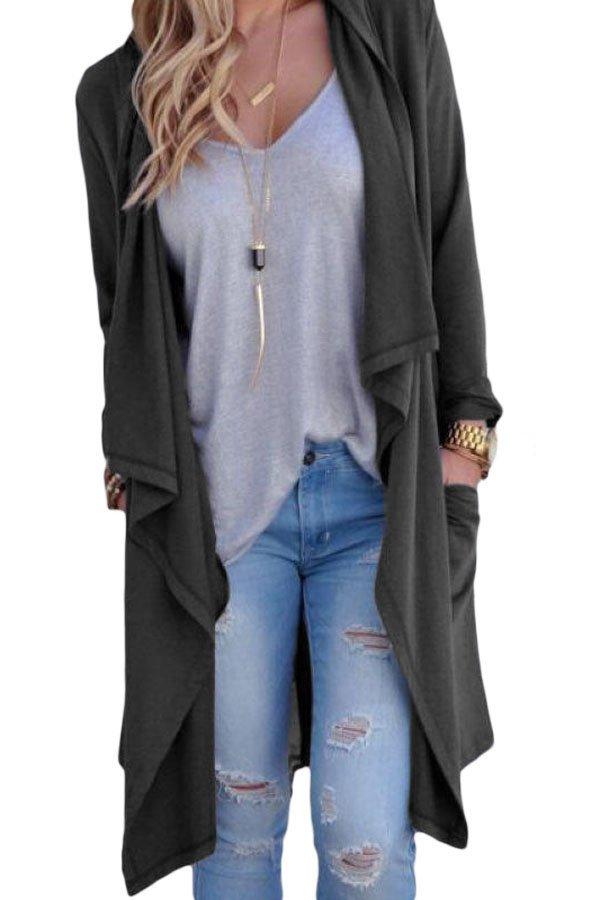 Grey Drapery Open Front Back Slit Oversize Coat