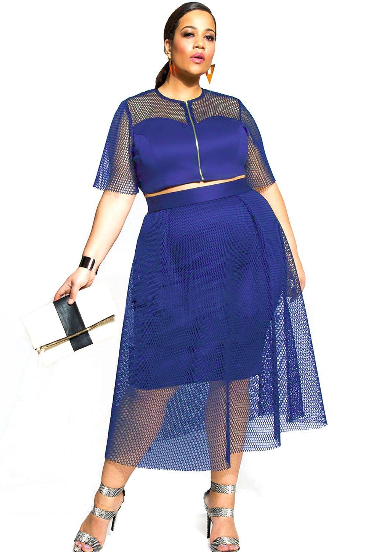 Blue Mesh Joint Plus Crop Top Skirt Set