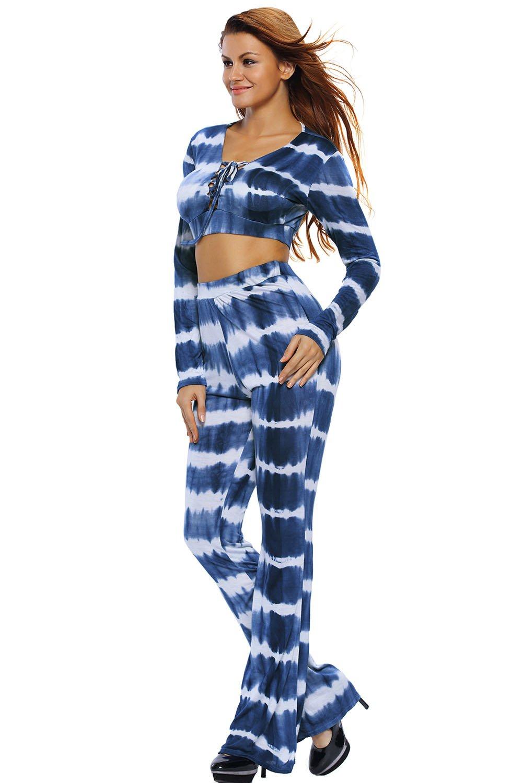 Blue Tie Dye Print Sexy Two Piece Pant Set