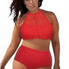 Red Patterned Mesh Insert Plus Size Swimwear