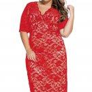 Red Plus Size V-Neck Half Sleeve Lace Midi Dress