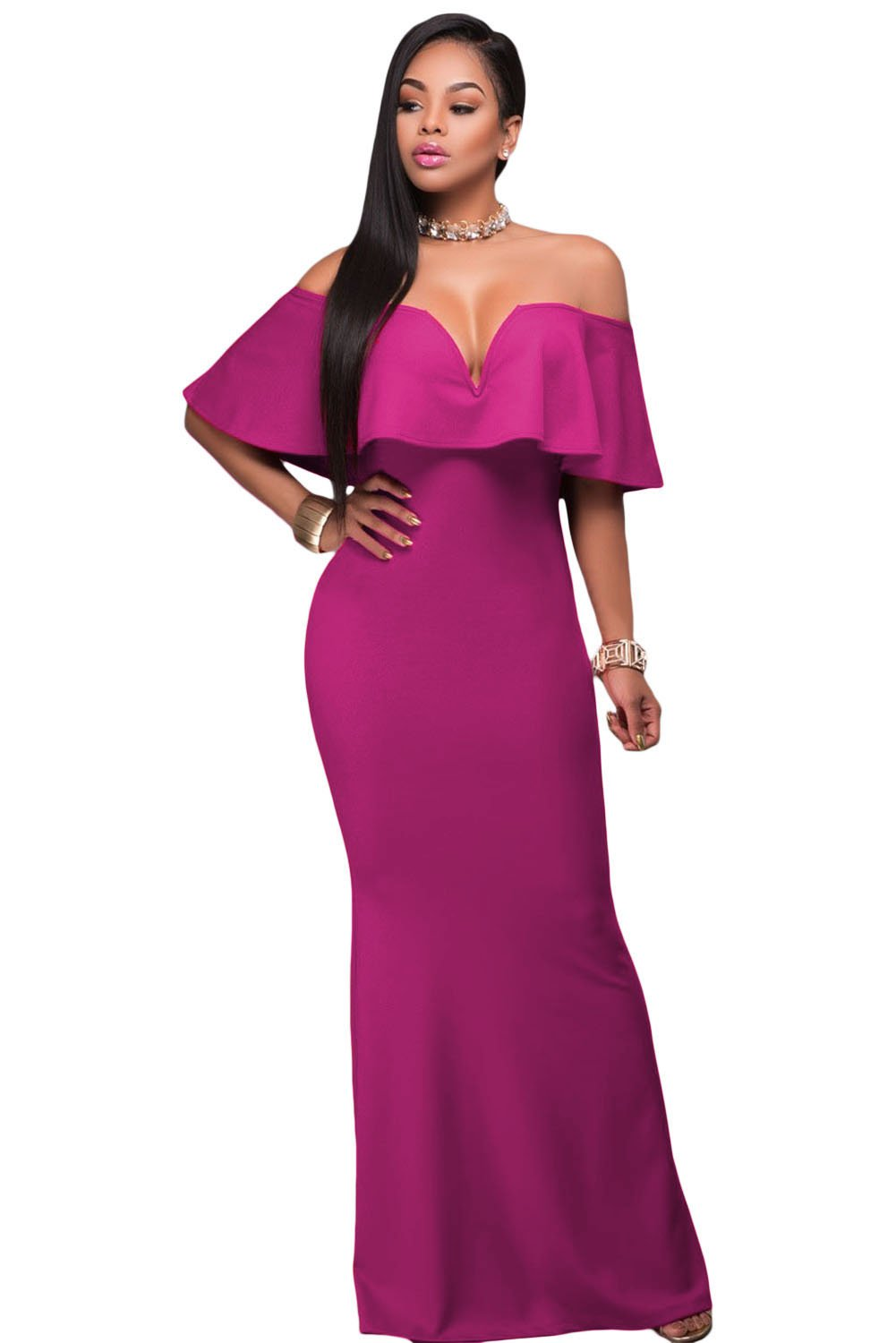 Rosy Ruffle Off Shoulder Maxi Party Dress