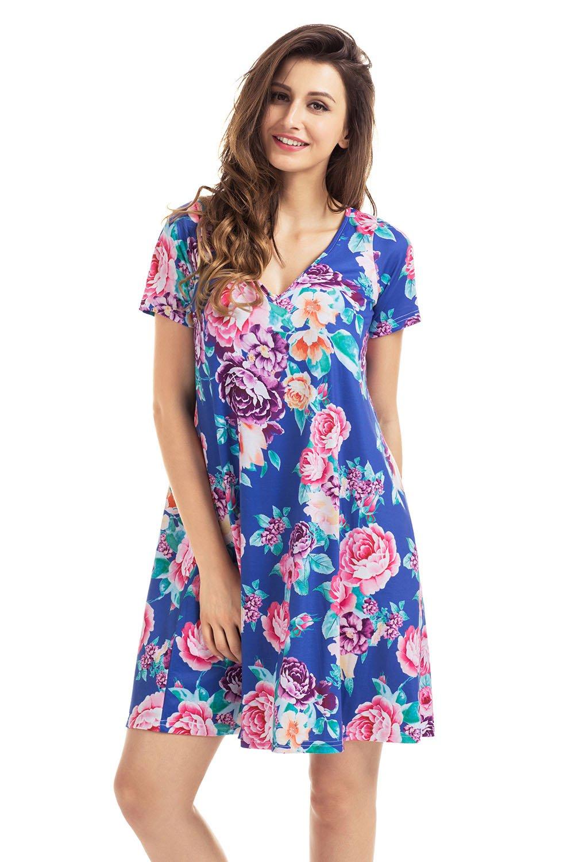 Royal Blue Pocket Design Summer Floral Shirt Dress