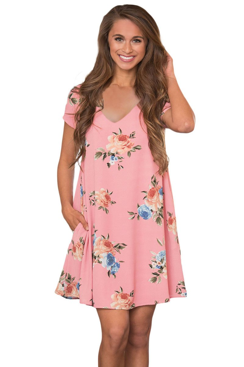 Pink Pocket Design Summer Floral Shirt Dress