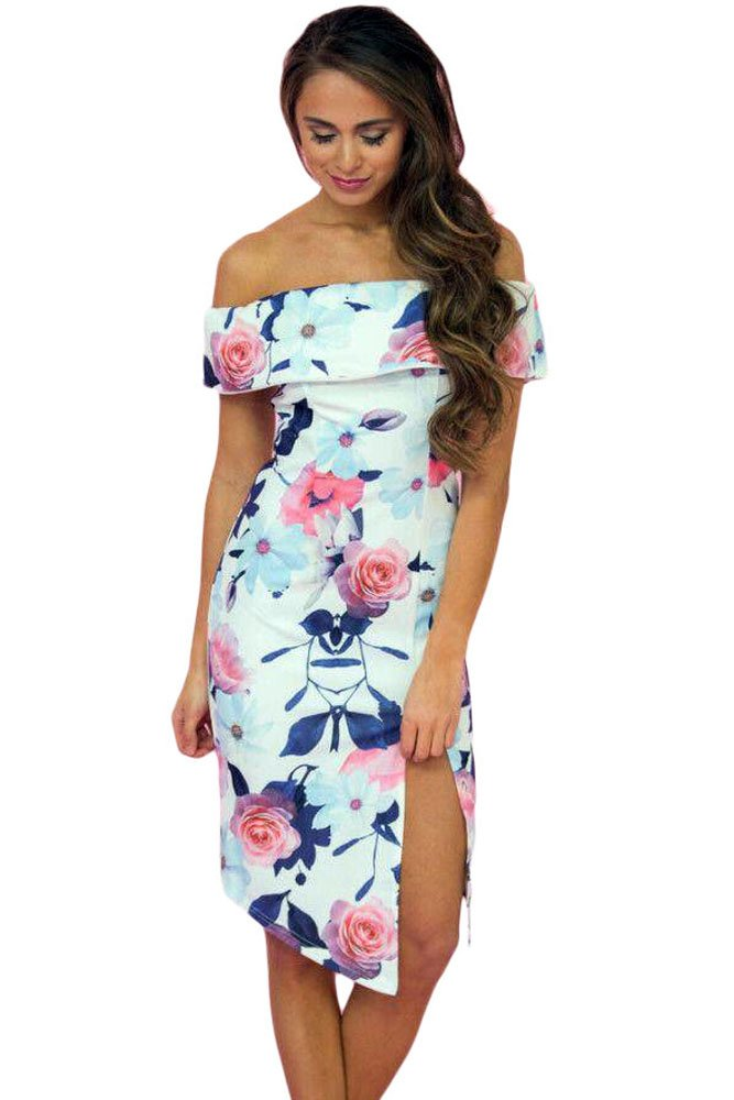 Bloom Off The Shoulder Floral Dress with Slit
