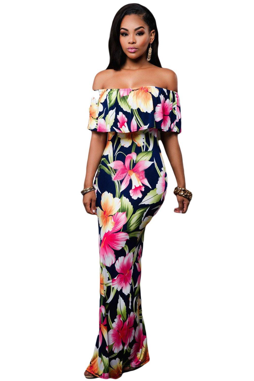 Navy Blue Roses Print Off-the-shoulder Maxi Dress