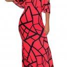 Rose Red Black Off-the-shoulder Maxi Dress