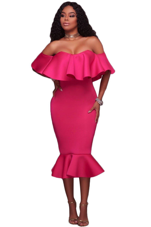 Rosy Ruffle Off Shoulder Mermaid Midi Party Dress