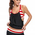 Black White Striped Flow Double Up Tankini Swimsuit