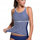 Active Striped Racerback Tankini and Swim Briefs