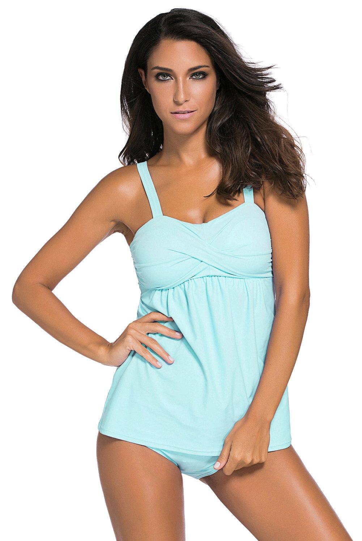 Light Blue 2pcs Swing Tankini Swimsuit