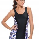 Bluish Print Black Panel Tank Style 1pc Bathing Suit