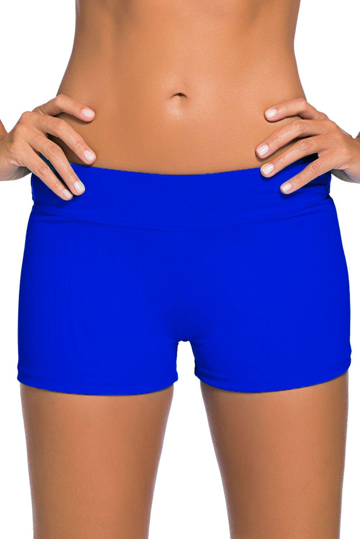 Royal Blue Wide Waistband Swimsuit Bottom Shorts