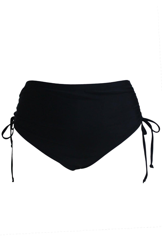 Black High Waist Side Ruched Swim Bottoms