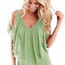 Army Green Cold Shoulder Flutter Top