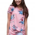 Pink Floral Short Sleeve Knot Top
