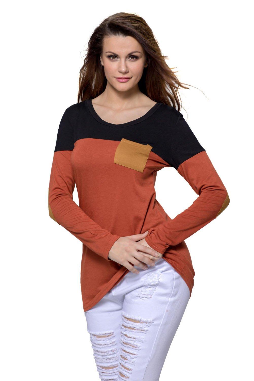 Black Orange Color Block Patch Insert Long Sleeve Blouse Top