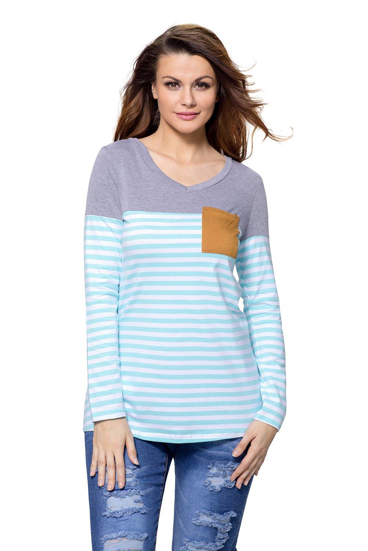Blue White Stripes Color Block Long Sleeve Blouse Top
