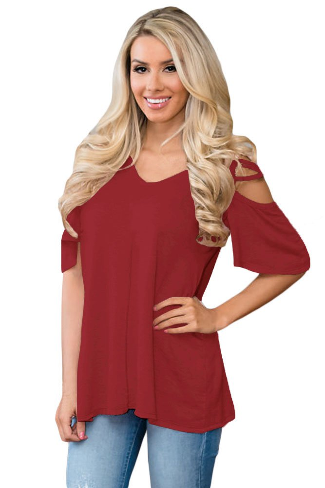 Wine Cold Shoulder Crisscross Detail Relaxing Fit Top