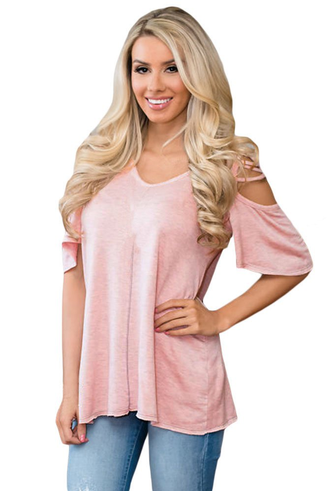 Pink Cold Shoulder Crisscross Detail Relaxing Fit Top