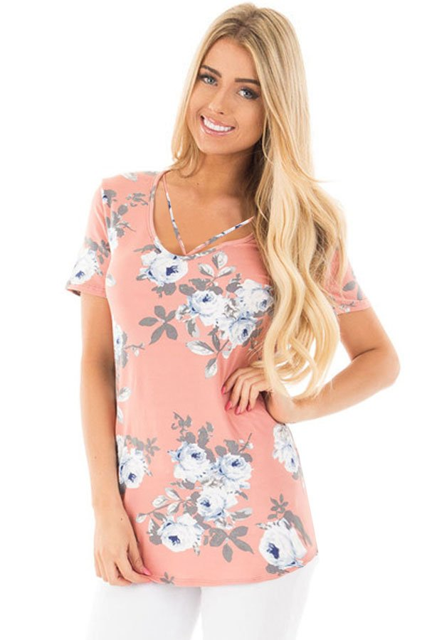 Strappy Neck Detail Blush Floral Short Sleeve T-shirt