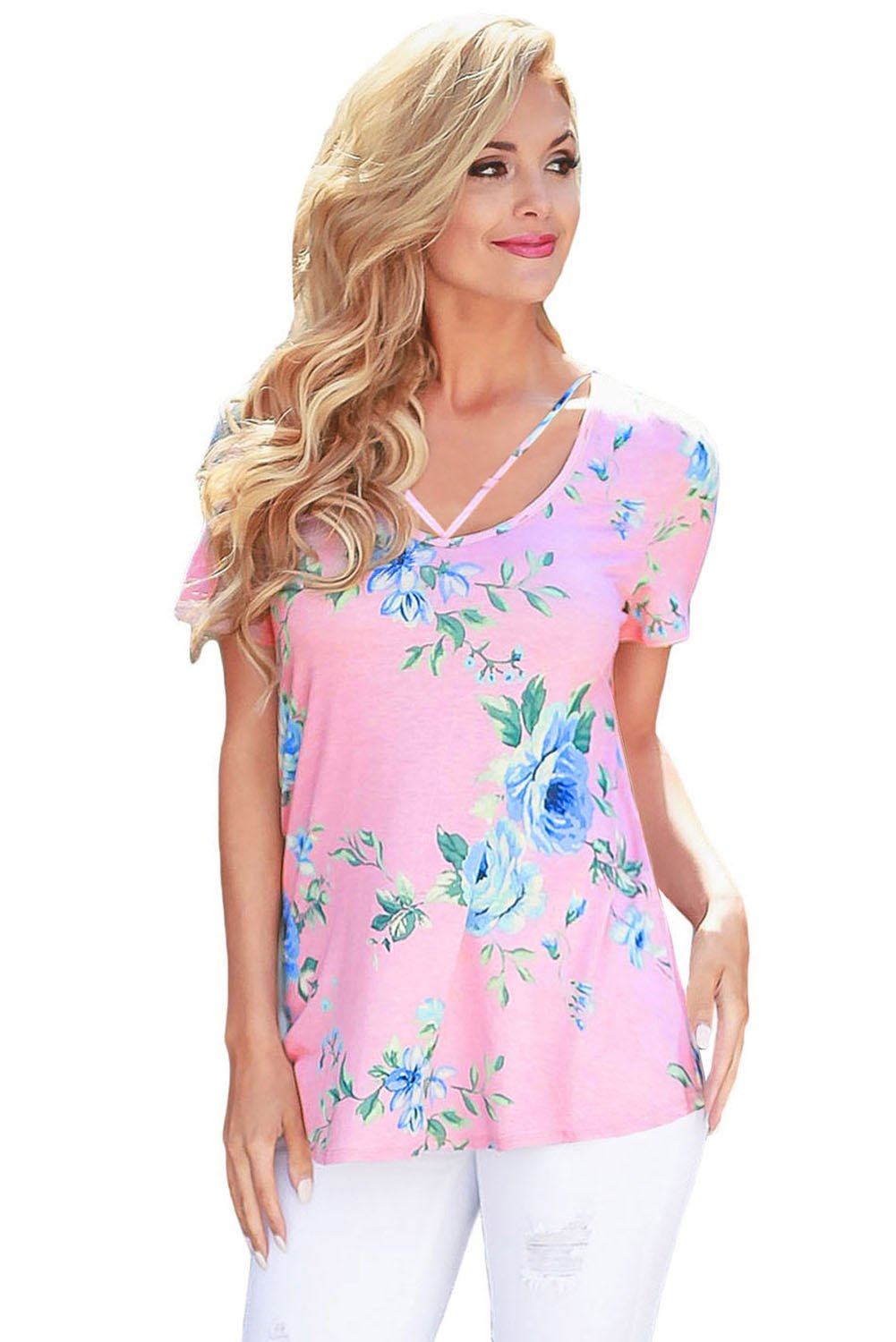 Strappy Neck Detail Pink Floral Short Sleeve T-shirt