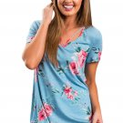 Strappy Neck Detail Blue Floral Short Sleeve T-shirt