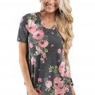 Grey Denim Floral V Neck Short Sleeve T-shirt