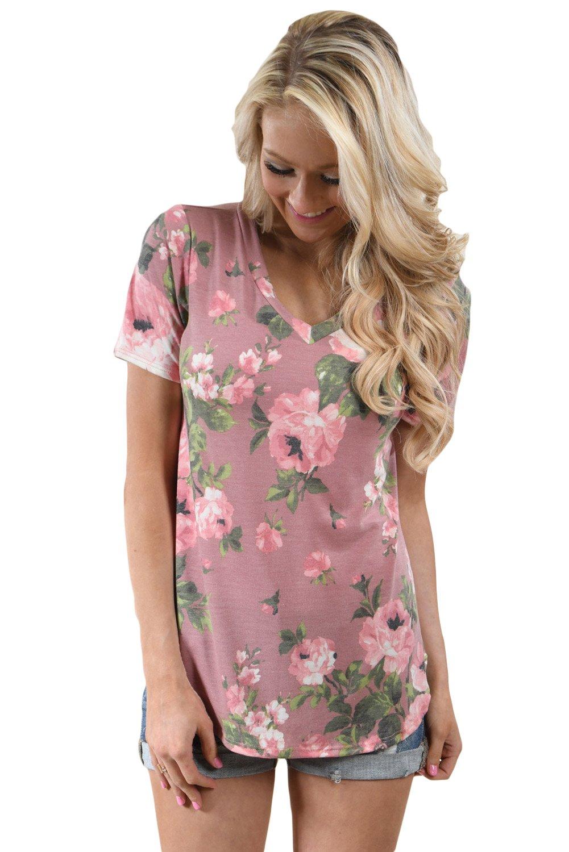 Dusty Pink Floral V Neck Short Sleeve T-shirt