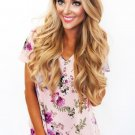 Lilac Floral V Neck Short Sleeve T-shirt