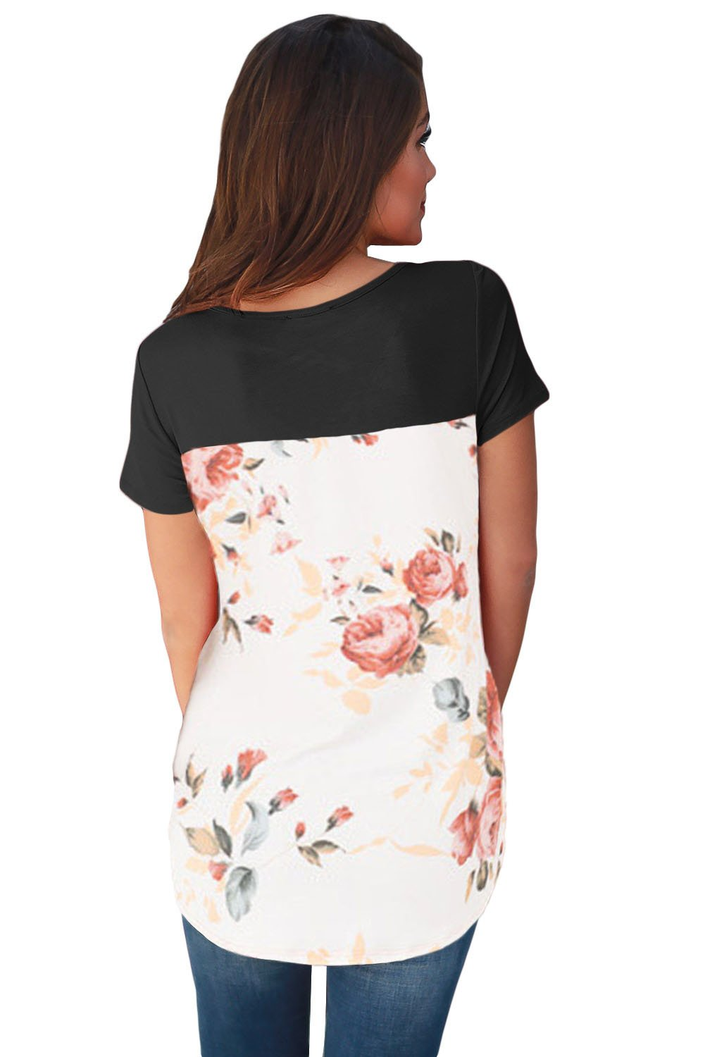 Chic Black Floral Print Lower Back T-shirt Online