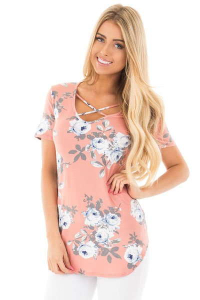 Pink Super Soft Floral Tee Shirt with Crisscross Neck Wholesale