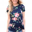 Mazarine Short Sleeve Round Neck Floral Printed T-shirt