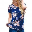 Royalblue Short Sleeve Round Neck Floral Printed T-shirt