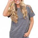 Grey Crisscross Detail Short Sleeve T-shirt