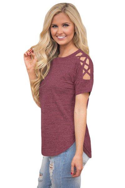 Date Red Crisscross Detail Short Sleeve T-shirt
