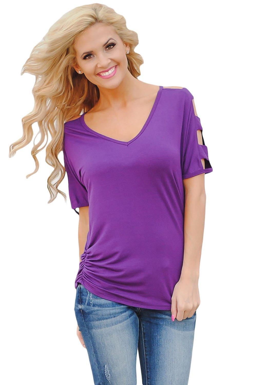 Purple Cold Shoulder Ruched Sides T-shirt