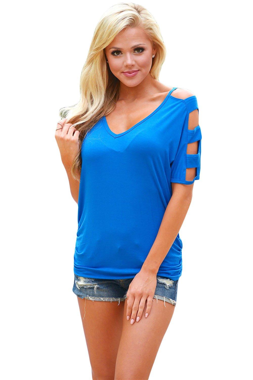 Blue Cold Shoulder Ruched Sides T-shirt