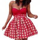 Red Print Skater African Style Mini Skirt