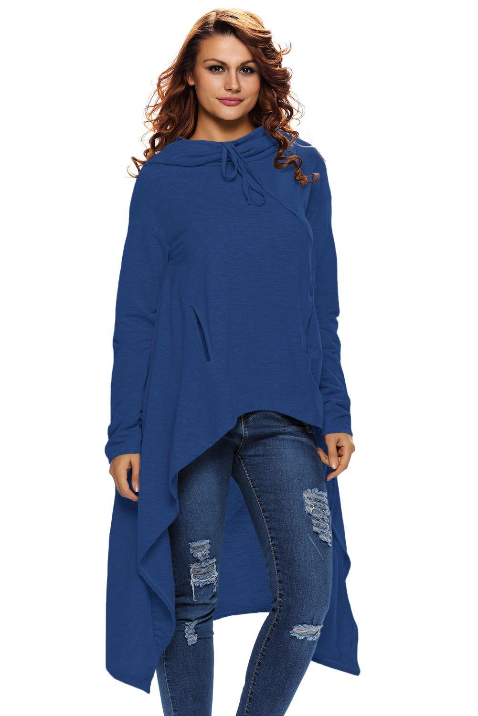 Blue Plain Drawstring Irregular Oversize Hoodie